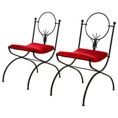 Pair of French, 1950s Side Chairs Attributed to Raymond Subes