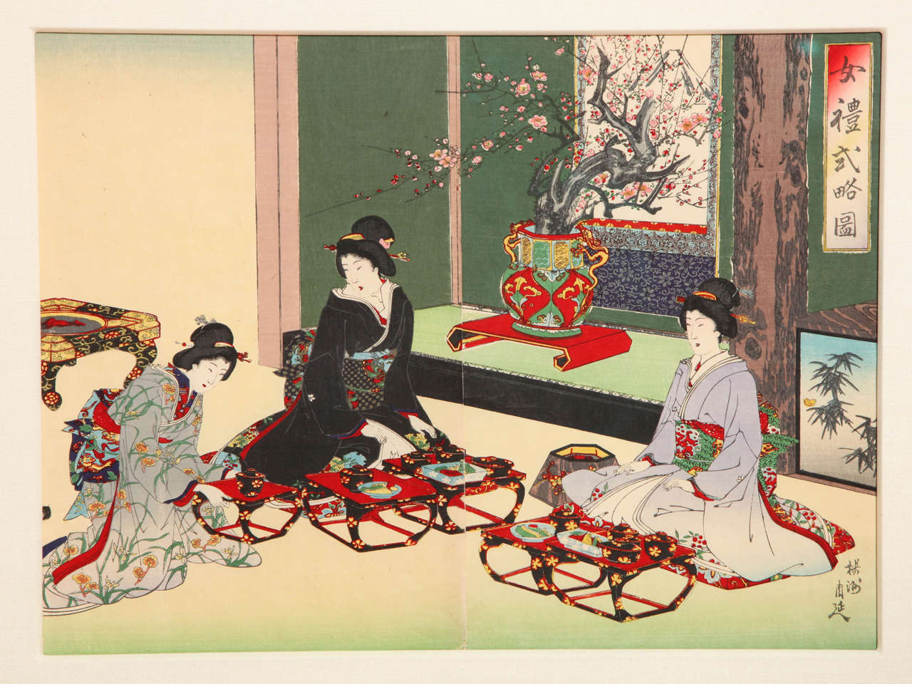 Meiji Japanese Color Woodblock Print by Toyohara Chikanobu For Sale