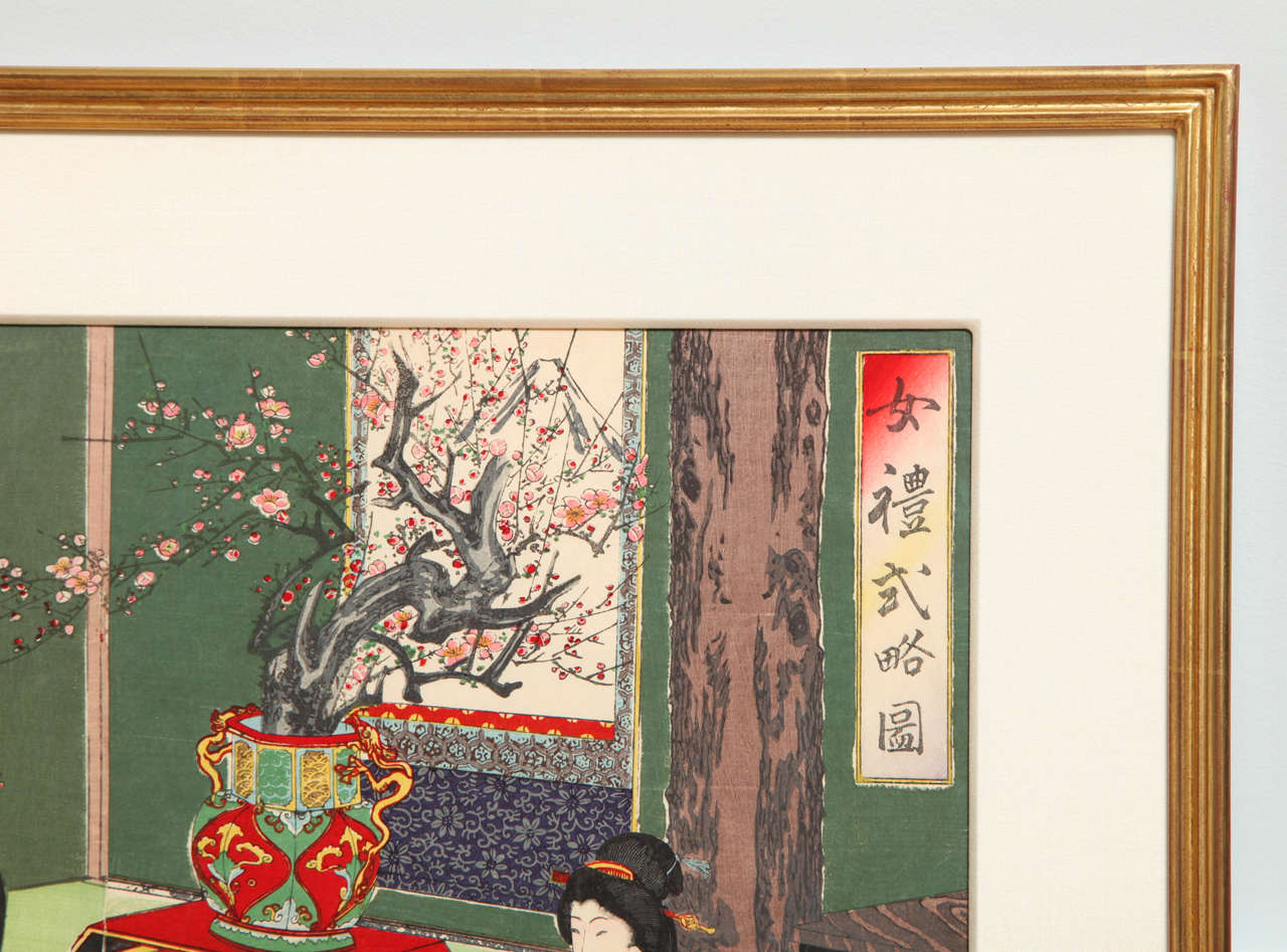 Japanese Color Woodblock Print by Toyohara Chikanobu In Good Condition For Sale In New York, NY