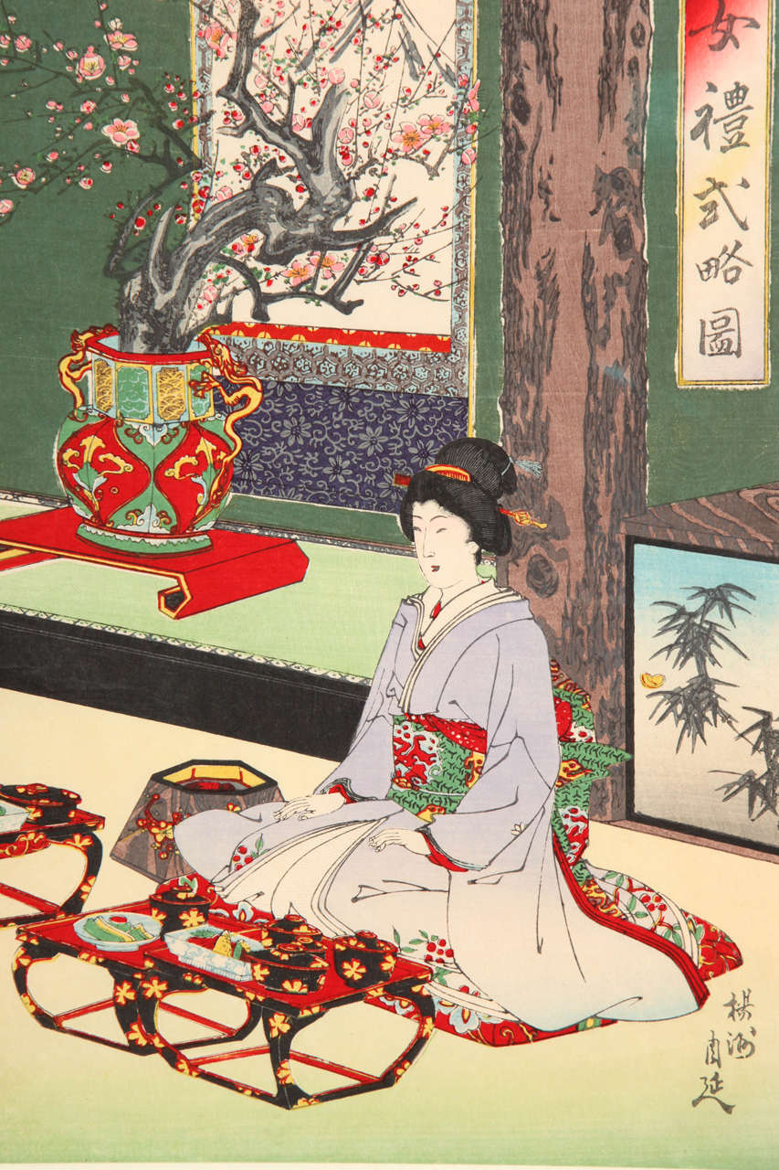 19th Century Japanese Color Woodblock Print by Toyohara Chikanobu For Sale