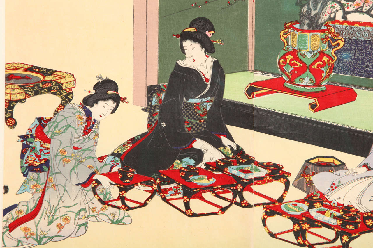 Paper Japanese Color Woodblock Print by Toyohara Chikanobu For Sale