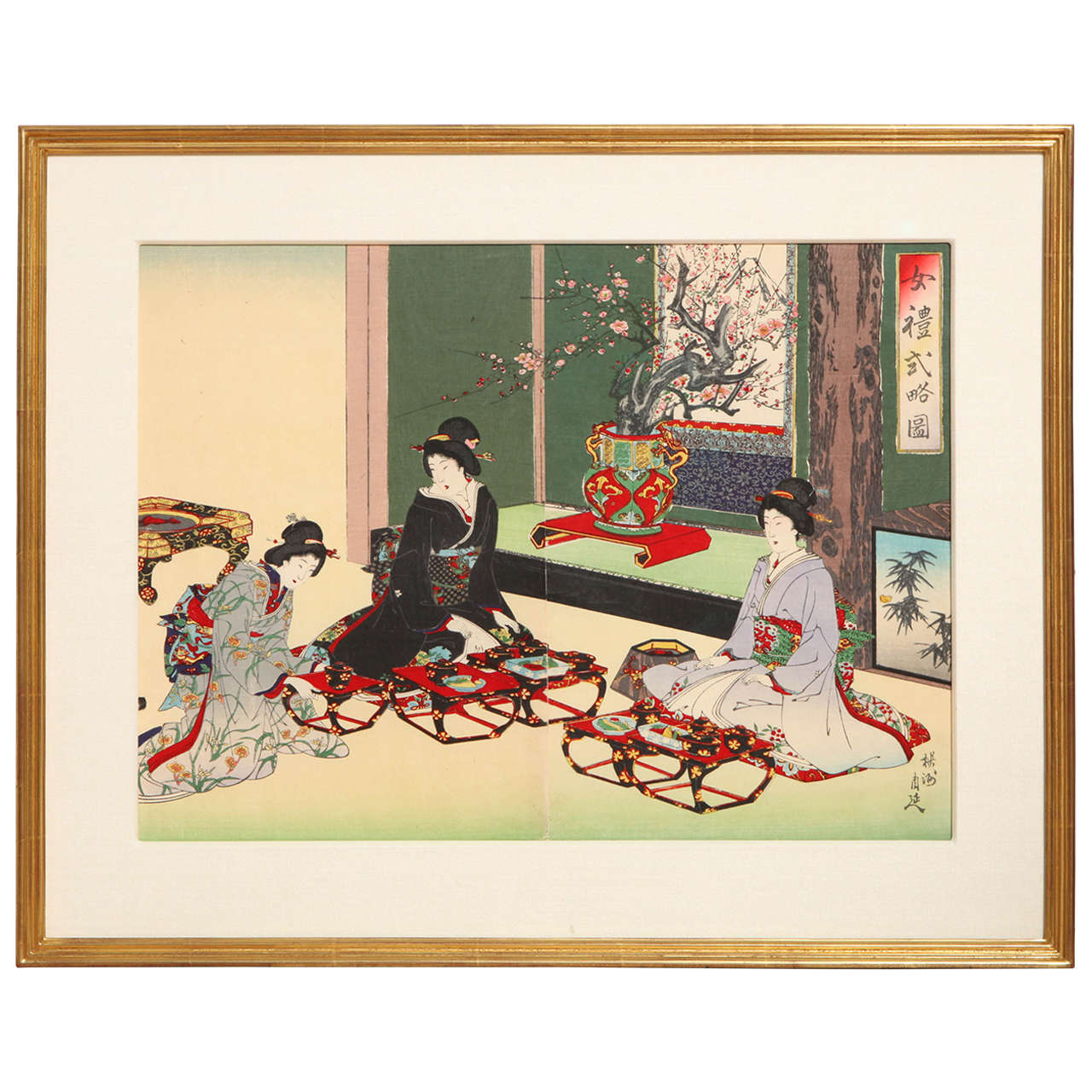 Japanese Color Woodblock Print by Toyohara Chikanobu For Sale