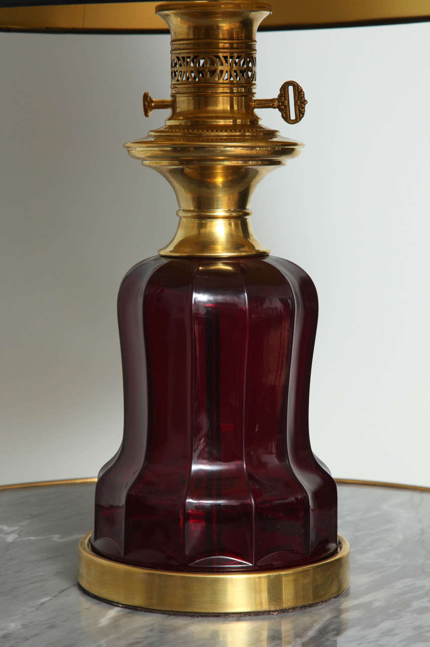 American Classical Ruby Glass Victorian-Style Lamp For Sale