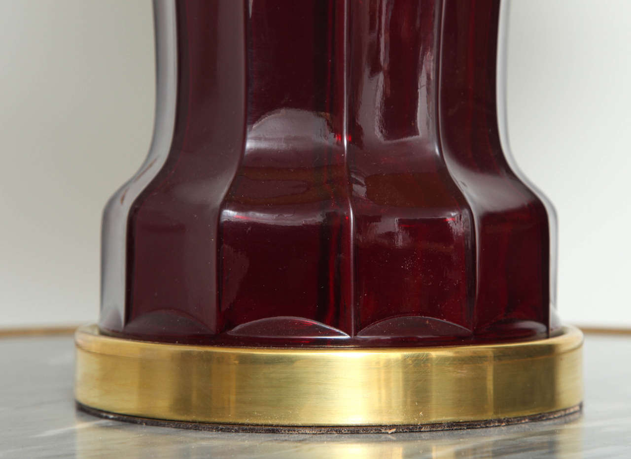 American Ruby Glass Victorian-Style Lamp For Sale