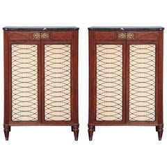 Pair of Mahogany Tall Side Cabinets with Marble Tops