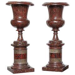 Exceptional Pair of 19th Century Serpentine Urns