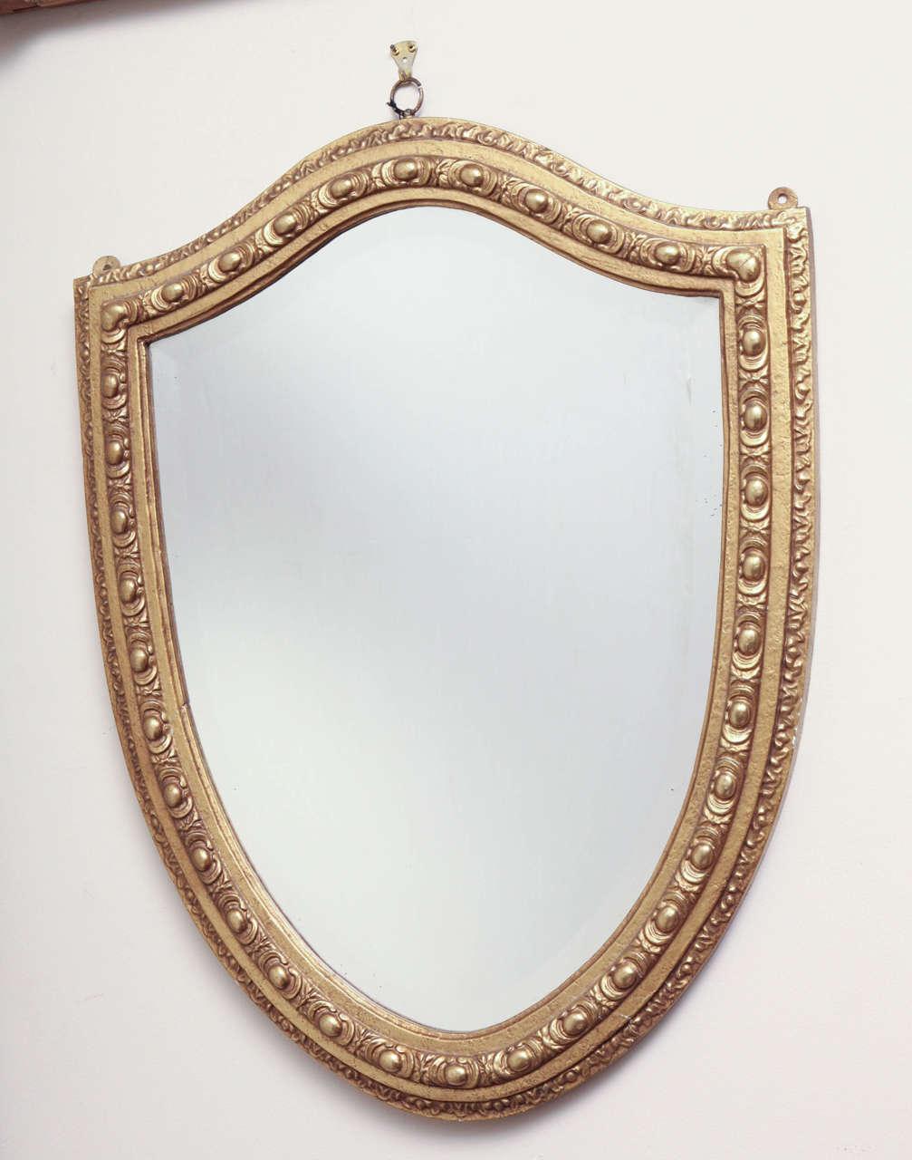 English, Shield-Shaped, Beveled Edge, Gilded Frame Mirror