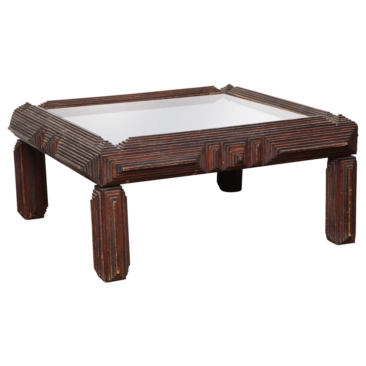 Tramp Art Coffee Table With Mirror Top At 1stdibs