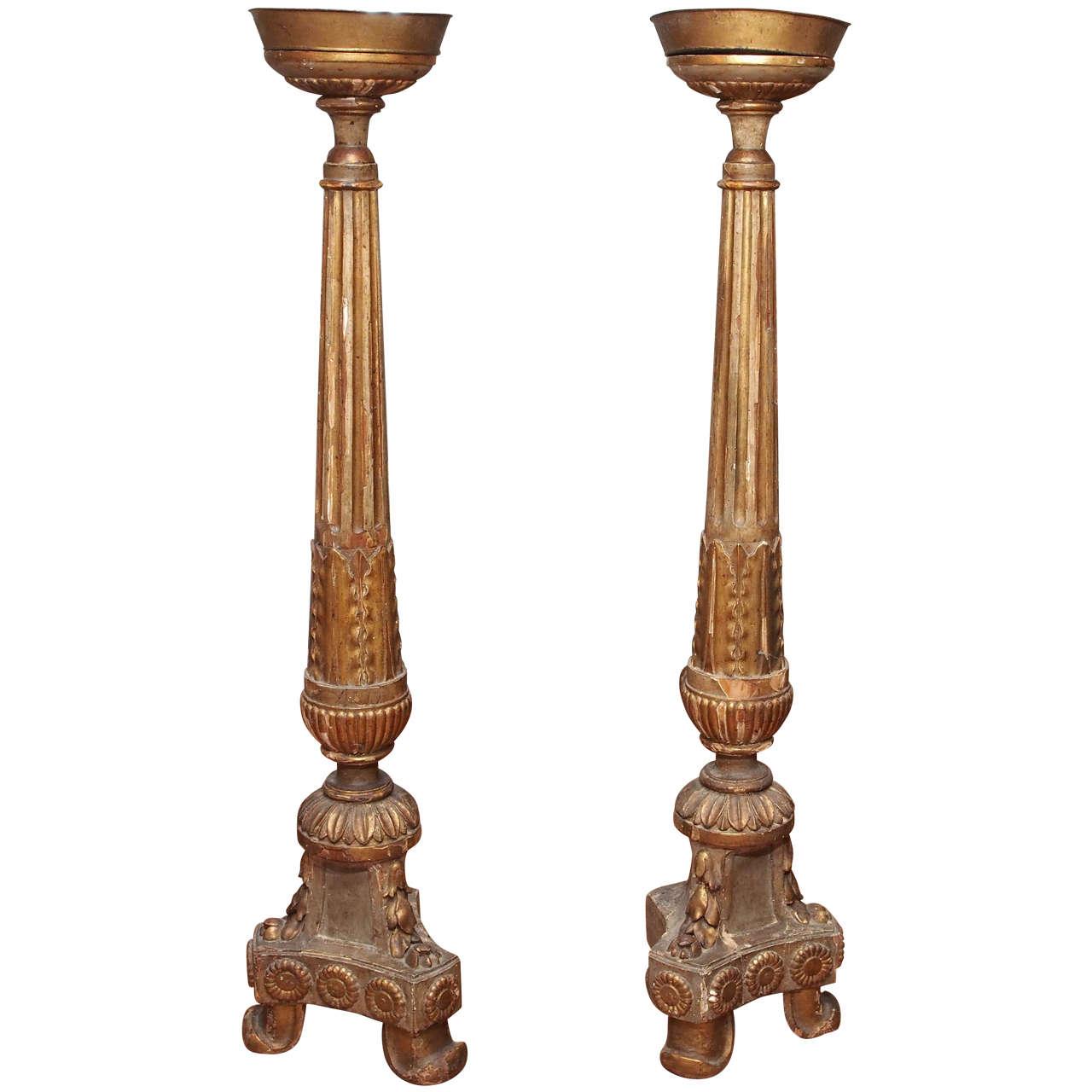 Pair Of 19th Century Floor Altar Sticks At 1stdibs