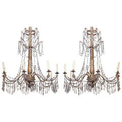 Pair of 19th Century Genoa Crystal Chandeliers