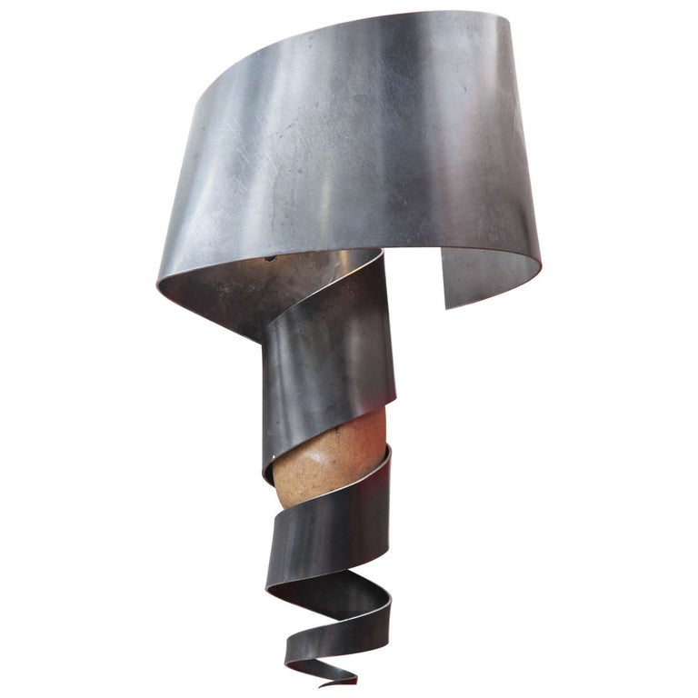 Sconce Mid Century Modern Sculptural iron and stone For Sale