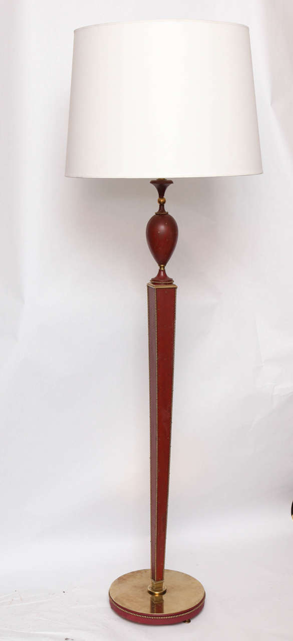 Floor Lamp Art Moderne leather France 1940's New Sockets and Rewired Shade not included