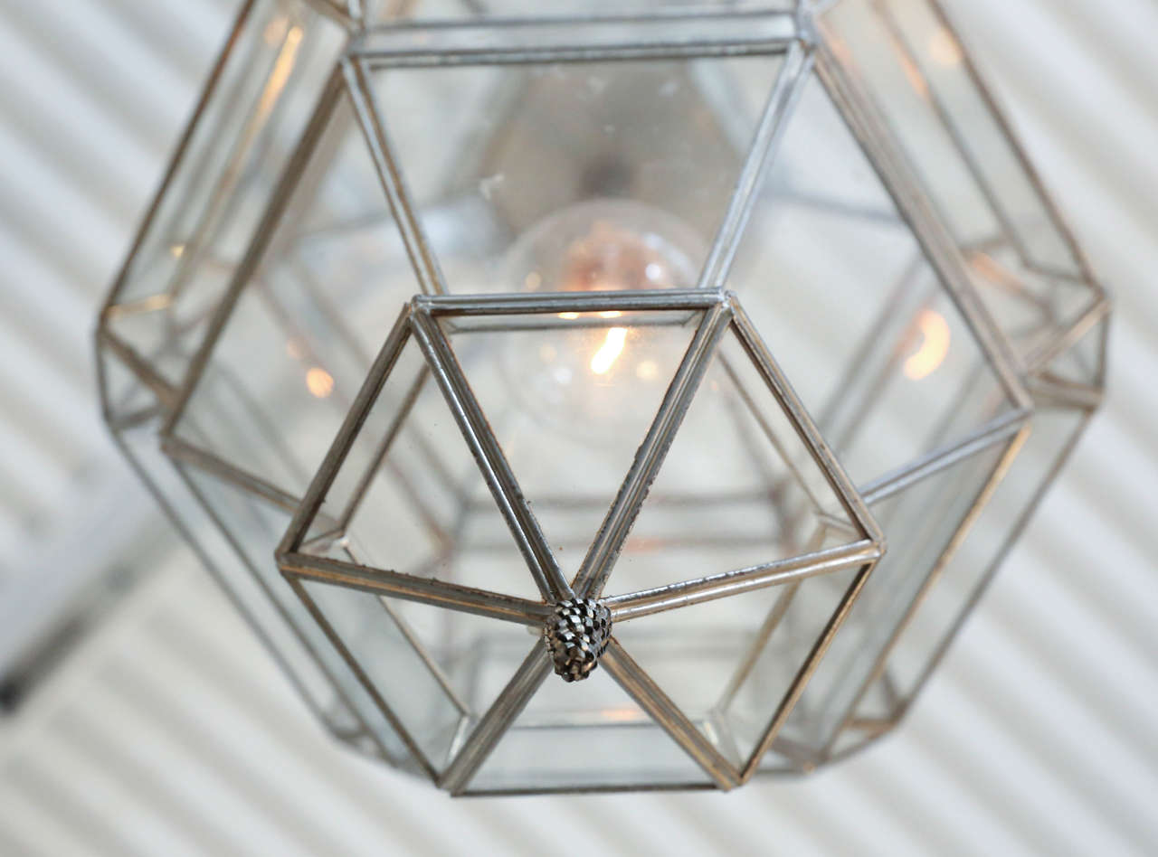 Vintage Glass Pendant Lantern At 1stdibs