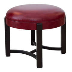 Leather Upholstered Stool Attributed to Gilbert Rohde