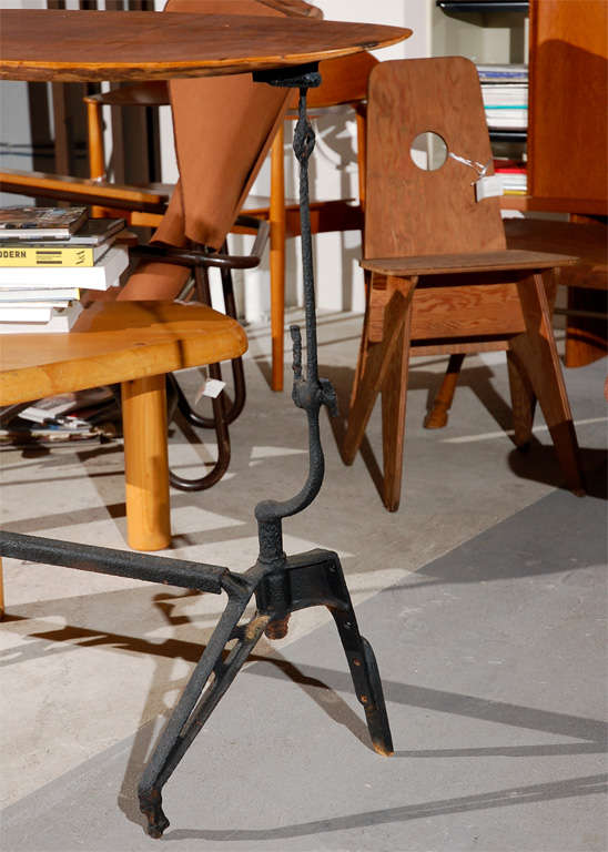 Iron and Walnut Console Table In Good Condition For Sale In Los Angeles, CA