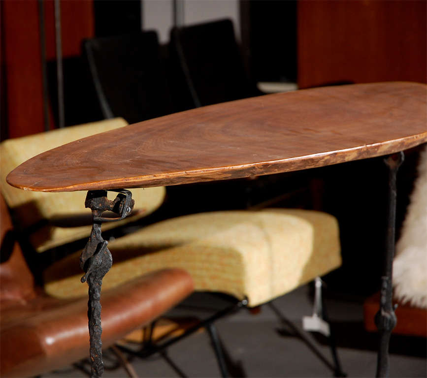 Iron and Walnut Console Table For Sale 3