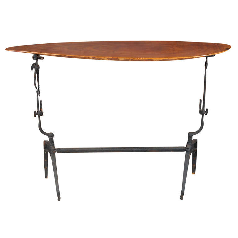 Iron and Walnut Console Table For Sale
