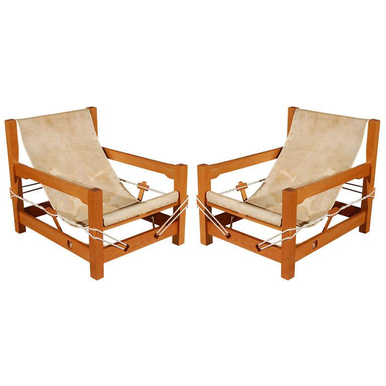 Pair of vintage sling chairs at 1stdibs