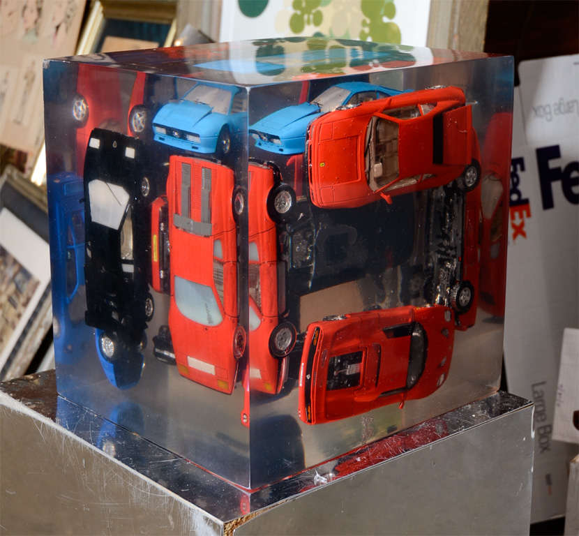 French Large Resin Sculpture with Ferraris For Sale