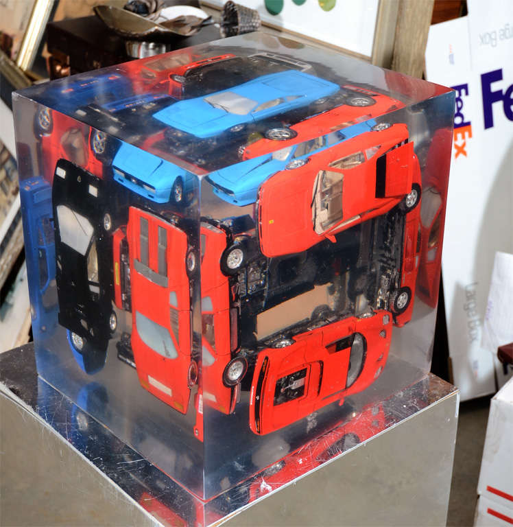 20th Century Large Resin Sculpture with Ferraris For Sale