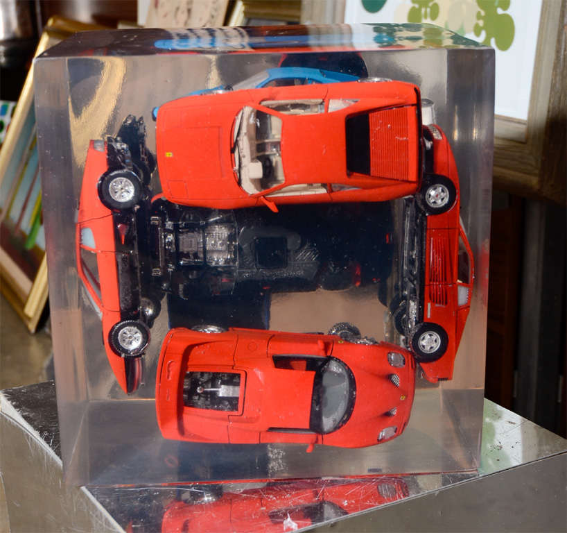 Large Resin Sculpture with Ferraris For Sale 1