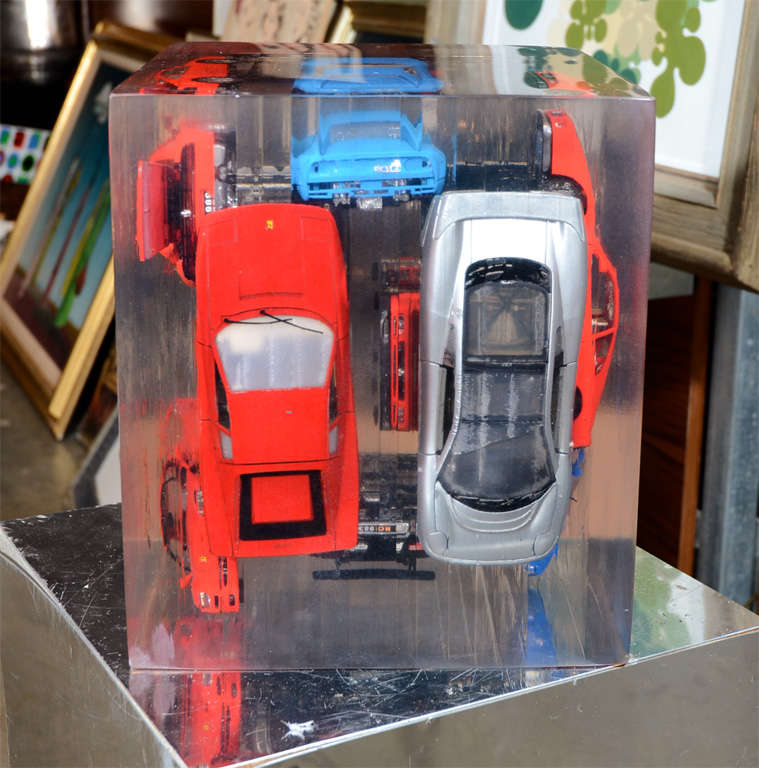 Large Resin Sculpture with Ferraris For Sale 2
