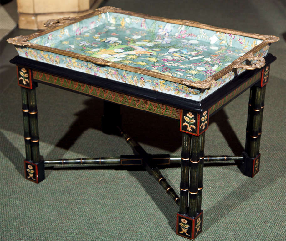 Enamel Tray Coffee Table: Porcelain Tray Mounted As Coffee Table At 1stdibs
