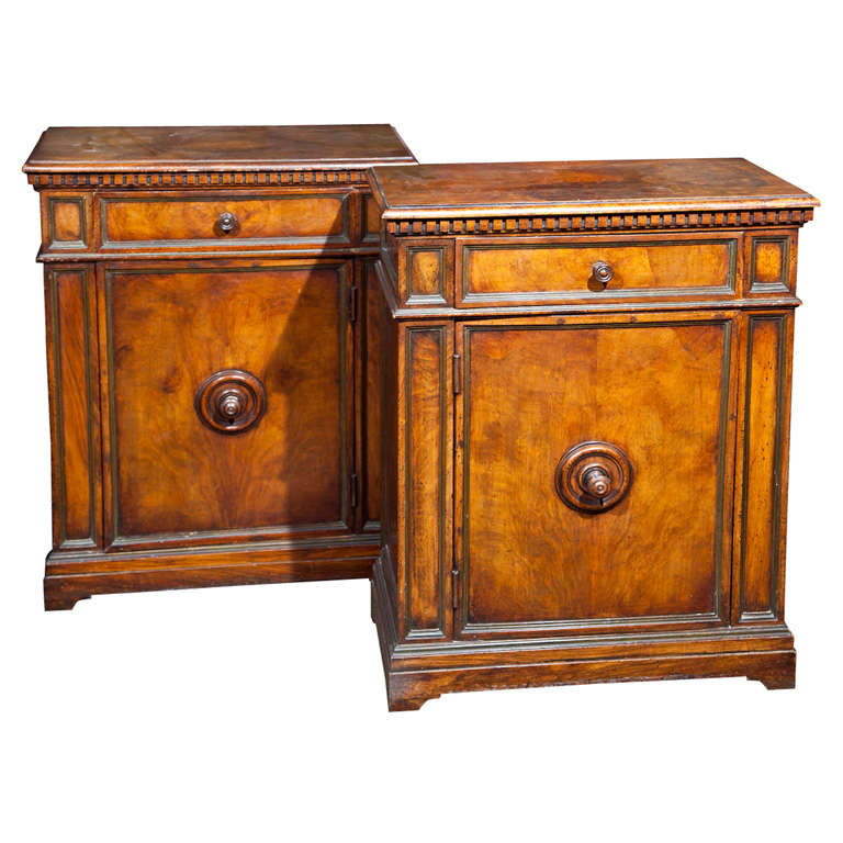 Pair of English Burlwood Cabinets