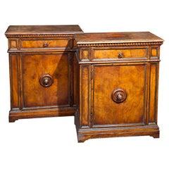 Pair of English Burlwood Cabinets