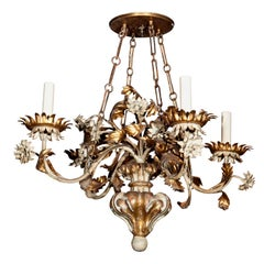 Gilt Wood and Tole Chandelier