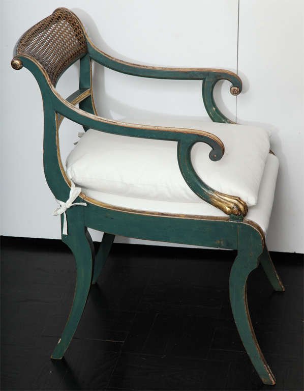 French 19th C. Green Painted &  Giltwood Open Arm Chair