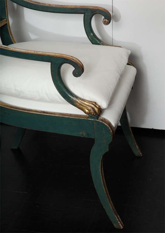 19th C. Green Painted &  Giltwood Open Arm Chair In Good Condition In New York, NY