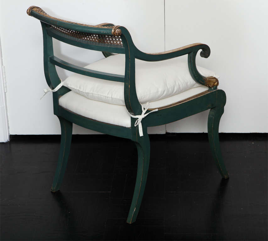 19th C. Green Painted &  Giltwood Open Arm Chair 1