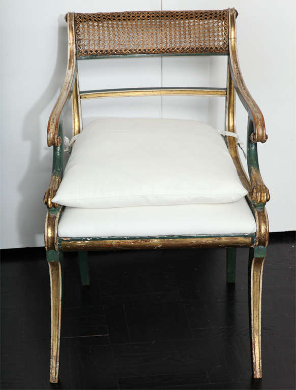 19th C. Green Painted &  Giltwood Open Arm Chair 2