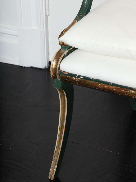 19th C. Green Painted &  Giltwood Open Arm Chair 3