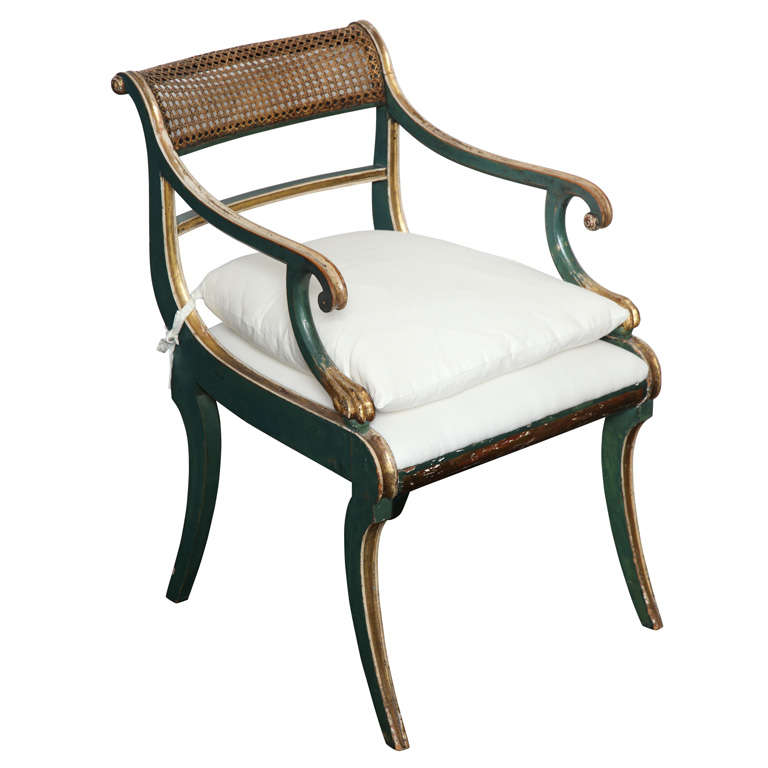 19th C. Green Painted &  Giltwood Open Arm Chair