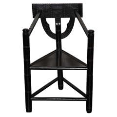 Early 20th C. Ebonized Oak Carved Turner Chair