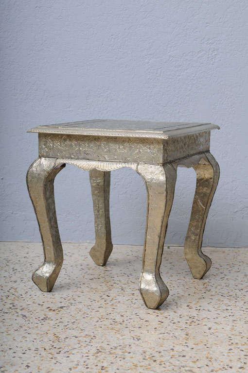Vintage Pair Of Anglo Indian Embossed Metal Side Tables At 1stdibs