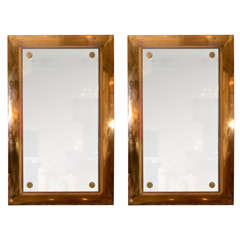 Large Pair of Brass Platform Mirror Frames with Mirrors