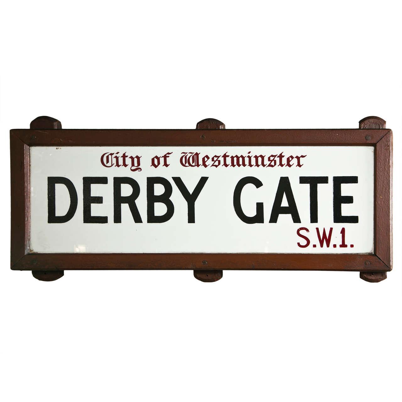 Vintage London Street Sign City Of Westminster Derby Gate