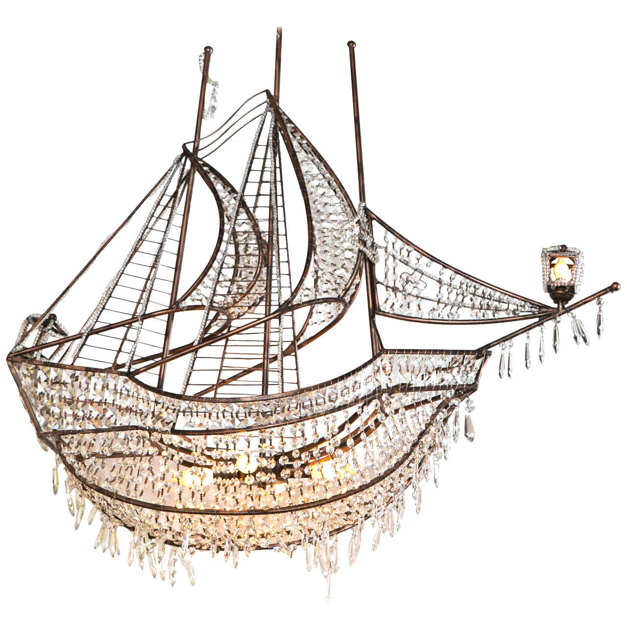 Antique crystal ship chandelier chandelier designs decorative iron and crystal ship chandelier at 1stdibs arubaitofo Choice Image