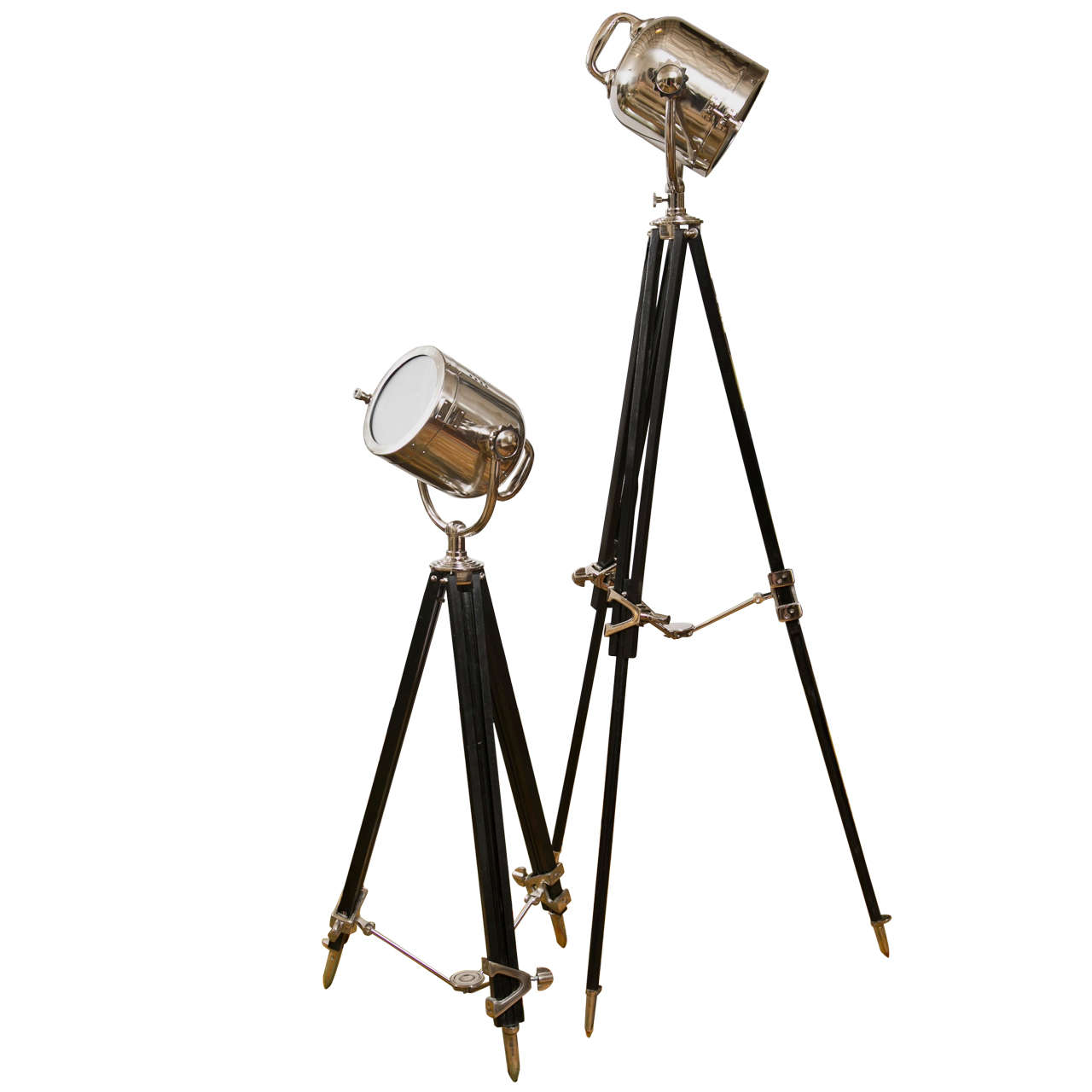 pair of industrial style spot light floor lamps at 1stdibs. Black Bedroom Furniture Sets. Home Design Ideas