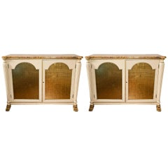 Pair of Regency Style Marble-Top Cabinets