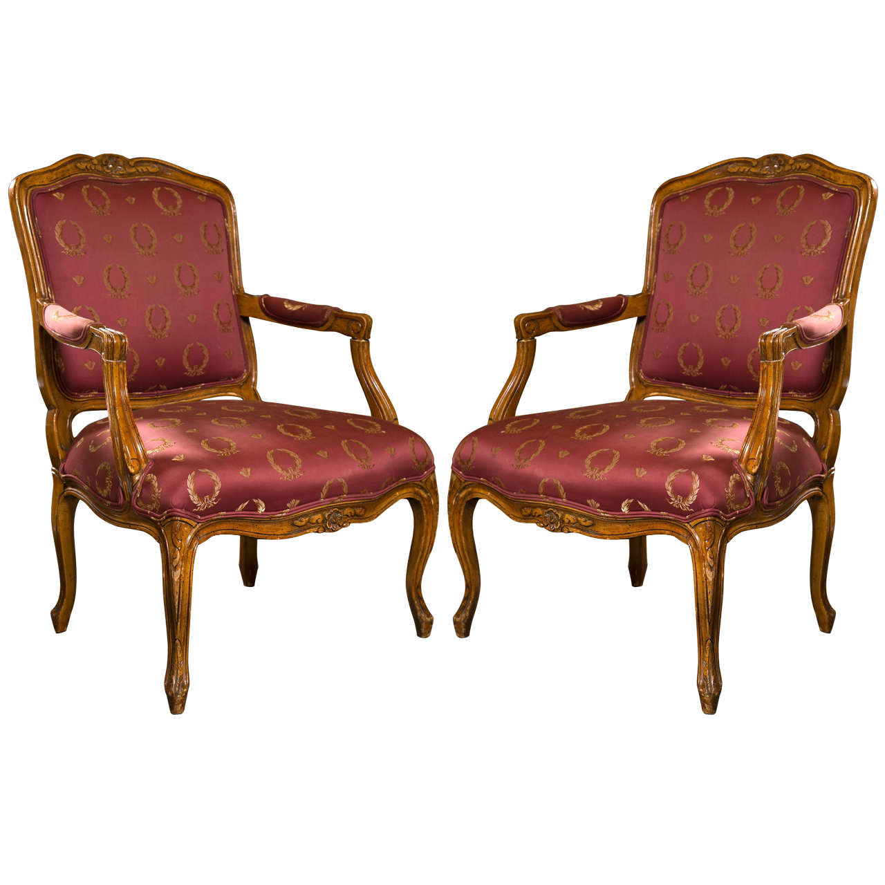 Pair of french louis xv style walnut fauteuils for sale at 1stdibs - Fauteuil style louis xv ...