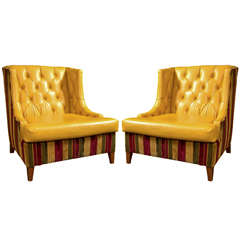 Pair of Mid-Century Modern Tufted Leather Wing Chairs
