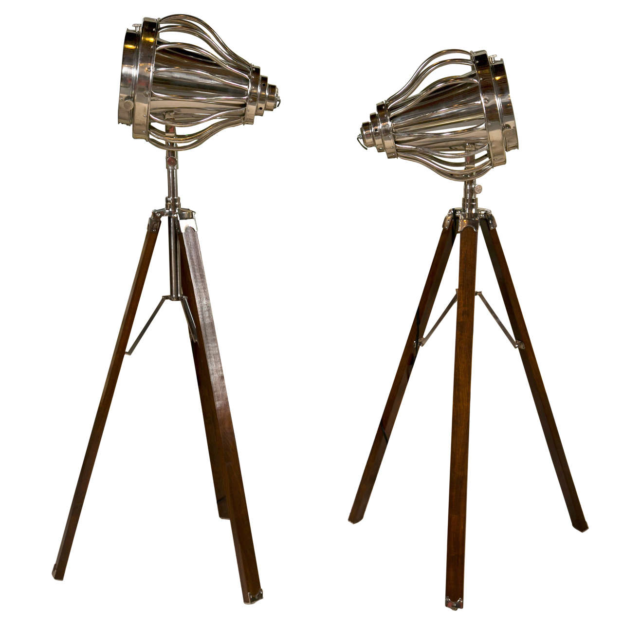 pair of industrial style tripod floor lamps at 1stdibs. Black Bedroom Furniture Sets. Home Design Ideas