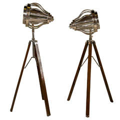 Pair of Industrial Style Tripod Floor Lamps