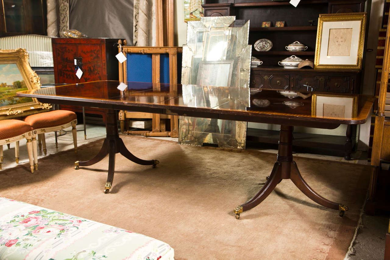 Regency Style Banded Mahogany Dining Table By Stickley At