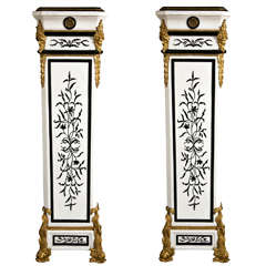 Monumental Pair of French Empire Style Marble Pedestals