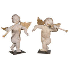 Pair of 17th Century Carved Winged Angels